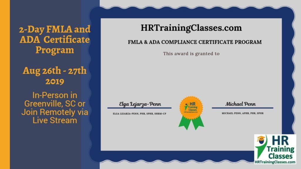 2-Day FMLA and ADA Certificate Program