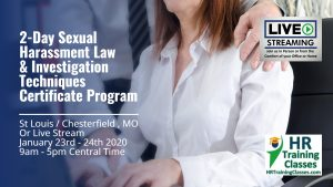 2 Day Sexual Harassment Law and Investigation Techniques Certificate Program with Elga Lejarza-Penn in St Louis / Chesterfield MO or join us online via Live Stream Webinar! Starting January 23 2020