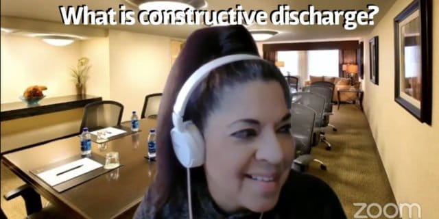 Constructive Discharge occurs when an employee resigns as a result of the employer creating a hostile work environment. Since the resignation was not truly voluntary, it is, in effect, a termination. For example, when an employer places extraordinary and unreasonable work demands on an employee to obtain their resignation, this can constitute a constructive dismissal.