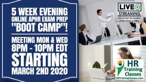 5 Week Evening Online aPHR Exam Prep Starting March 2 2020