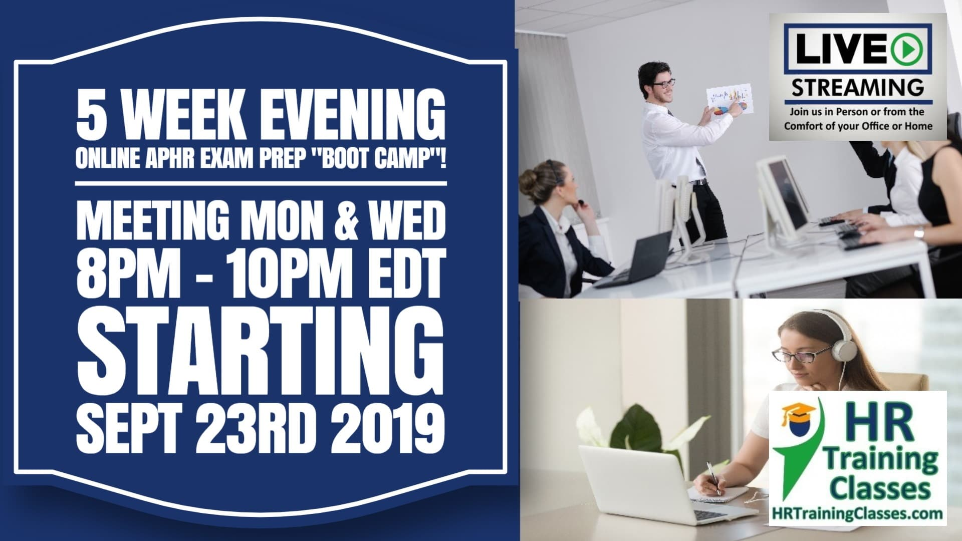 5 Week Evening Online aPHR Exam Prep Boot Camp Starting Sep 23 2019