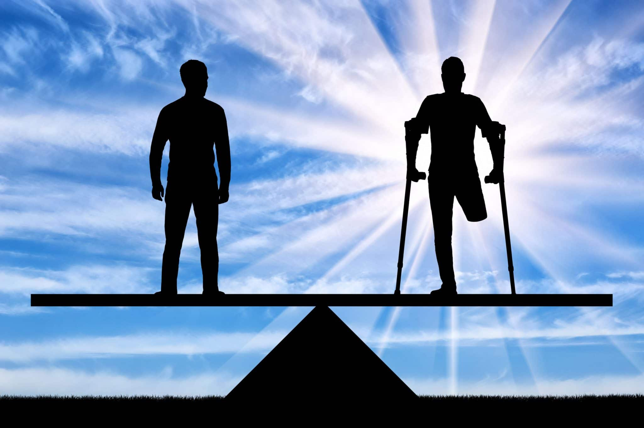 ADA Persons with disabilities have equal rights in the balance with healthy people. Concept of social equality of disabled people in society