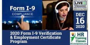 HRTrainingClasses (12-16-2020 Chesterfield_St Louis, MO) 4-Hour 2020 Form I-9 Verification & Employment Certificate Program