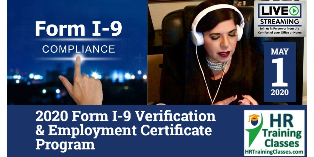 HRTrainingClasses (5-1-2020 St Louis, MO) 4-Hour 2020 Form I-9 Verification & Employment Certificate Program