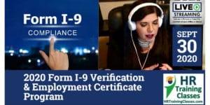 HRTrainingClasses (9-30-2020 Chesterfield_St Louis, MO) 4-Hour 2020 Form I-9 Verification & Employment Certificate Program