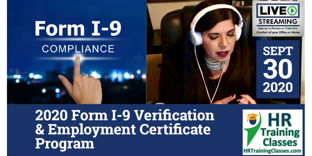 HRTrainingClasses (9-30-2020 Chesterfield_St Louis, MO) 4-Hour 2020 Form I-9 Verification & Employment Certificate Program